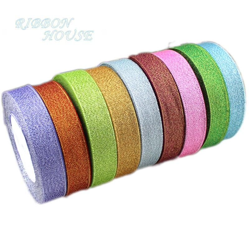 (25 ярдов/рулон) 1 »(25 мм) металлическая Блестящая лента цветная Оптовая подарпосылка ленты