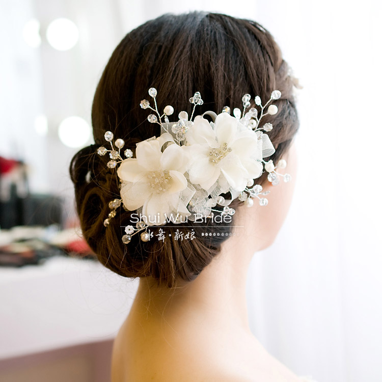 Free Shipping! Bridal Hairpin White Handmade Beaded Wedding Hair Accessories TH178-in Hair ...