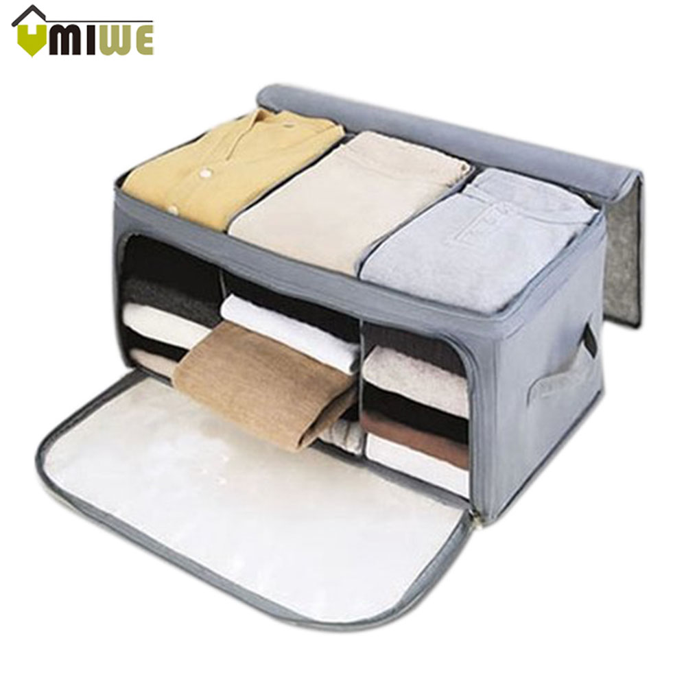Storage Box Bag Non-Woven Fabric Folding Case Clothes Container Ties Socks Bra Underwear ...