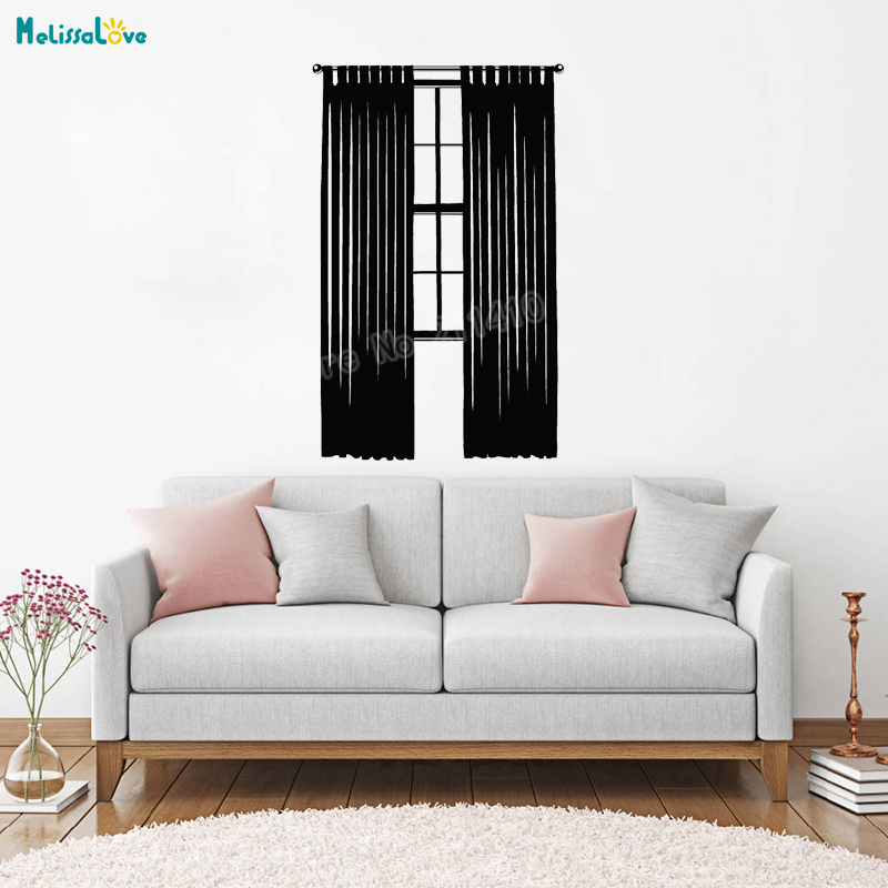Vinyl Wall Sticker Window With Long Curtains Decals Vinyl ...