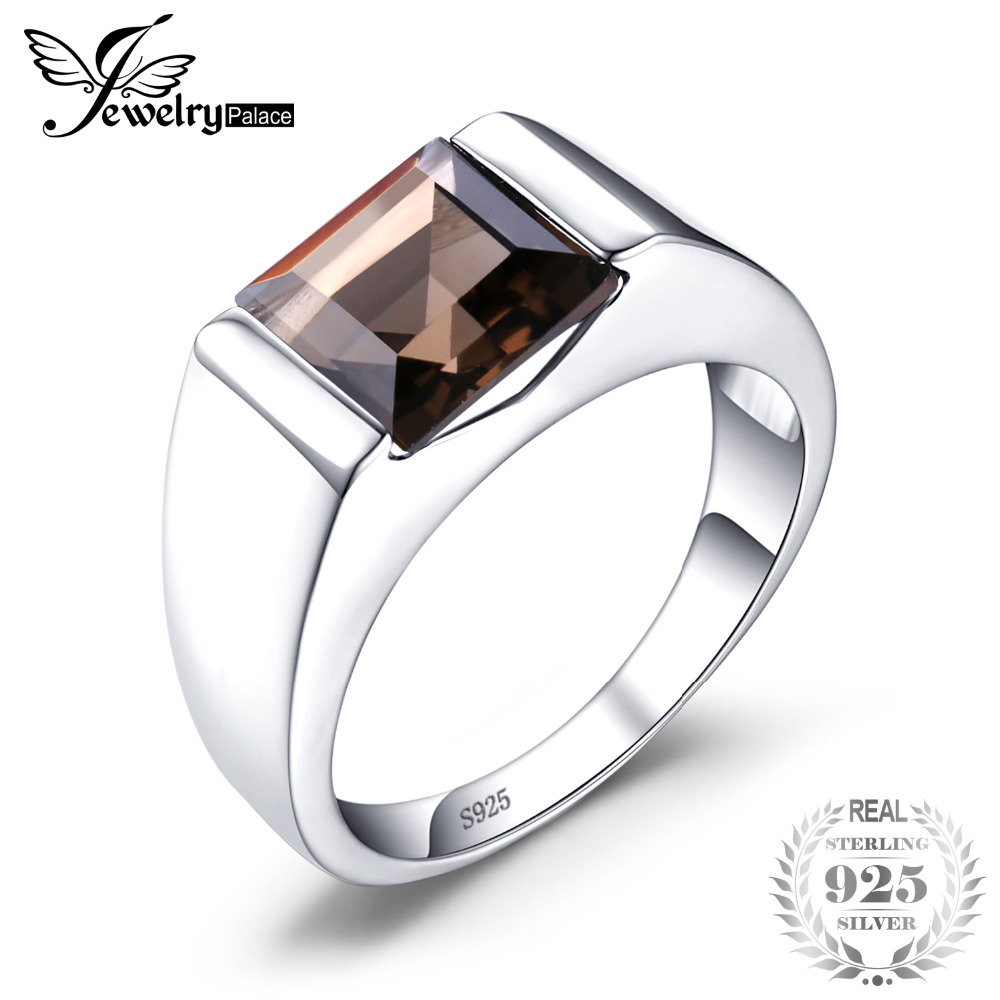 JewelryPalace Men's Square 2.2ct Genuine Smoky Quartz Wedding Ring Solid 925 Sterling Silver High Quality Fashion Brand Jewelry