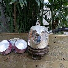 Серебряный Чай море с ручкой рога буйвола стерлингового серебра 166 г чашка Подарочная коробка Чай церемония Аксессуары