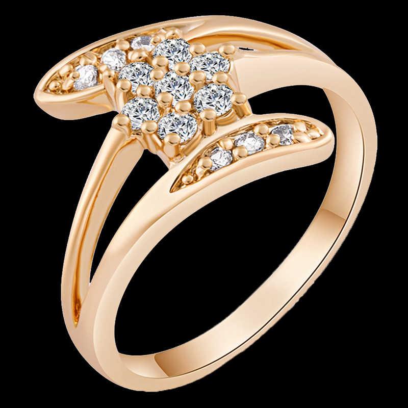 Hoa đáng yêu Zircon Màu Trắng Vàng Viền Màu Cho Phụ Nữ HOA KỲ số Kích Thước 6/7/8/9 M03-J0014