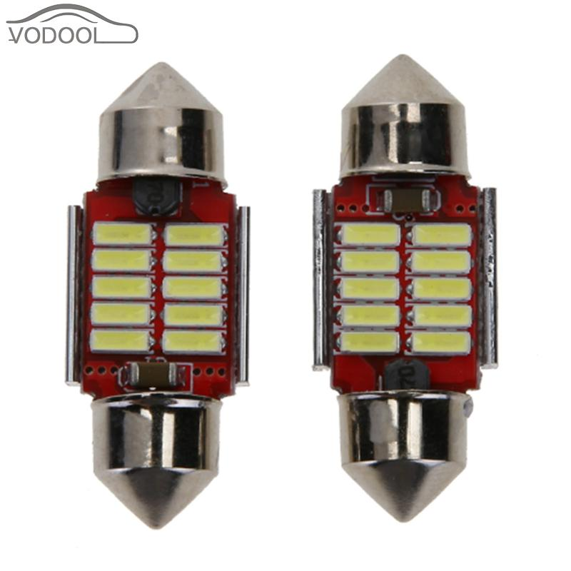 2Pcs 4014 12SMD 12V White LED Auto Car Reading Light Automobiles Light-emitting Diode Number License Plate Small Lamp Bulbs