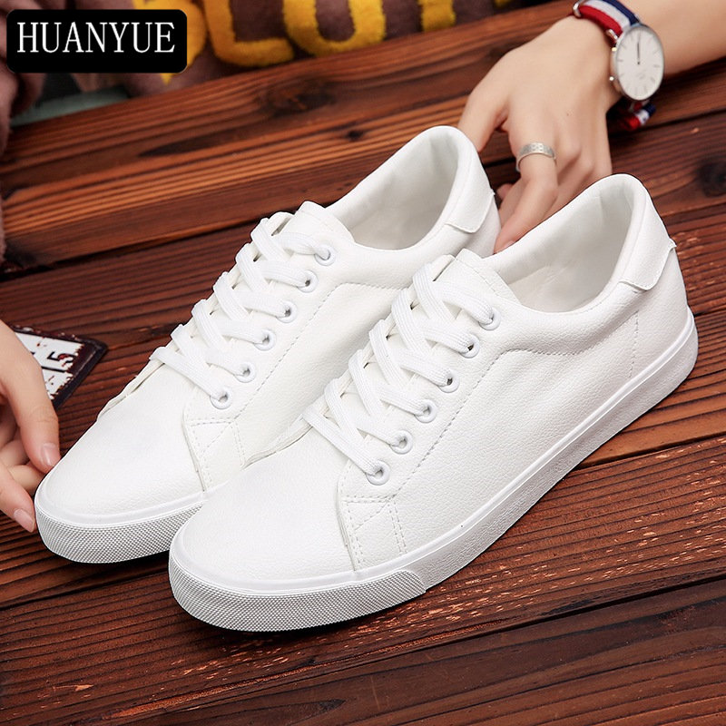 Spring New 2018 Fashion Solid White PU Leather Shoes For Men's Flats Lace Up Men Casual Shoes Breathable Walking Footwear lace up pu leather breathable casual shoes page 5