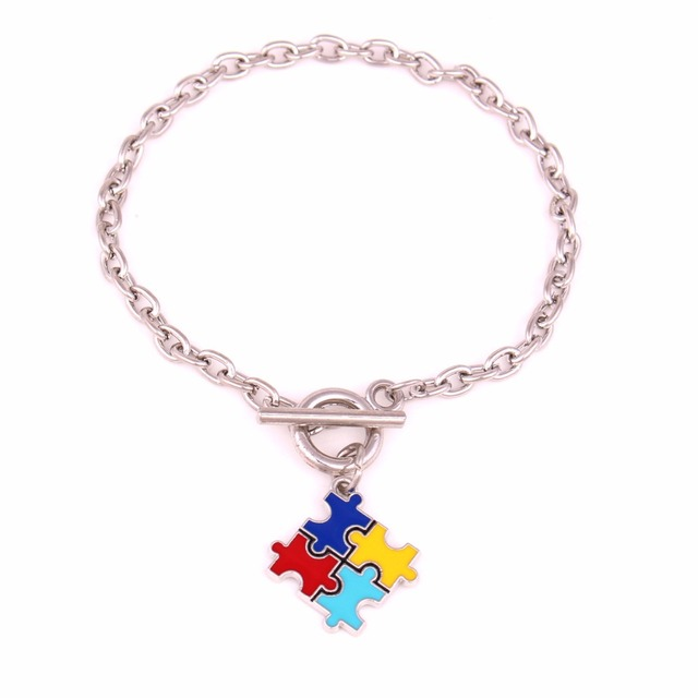 Autism Awareness Jewelry Zinc With Sparkling Multi Colored Enamel Autism Hope Puzzle Piece Toggle Charm