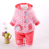 2016 Kid Baby Girls Winter Snowsuit Parkas Clothing Set Winter Coat Cute Strawberry Hooded Thicken Infant
