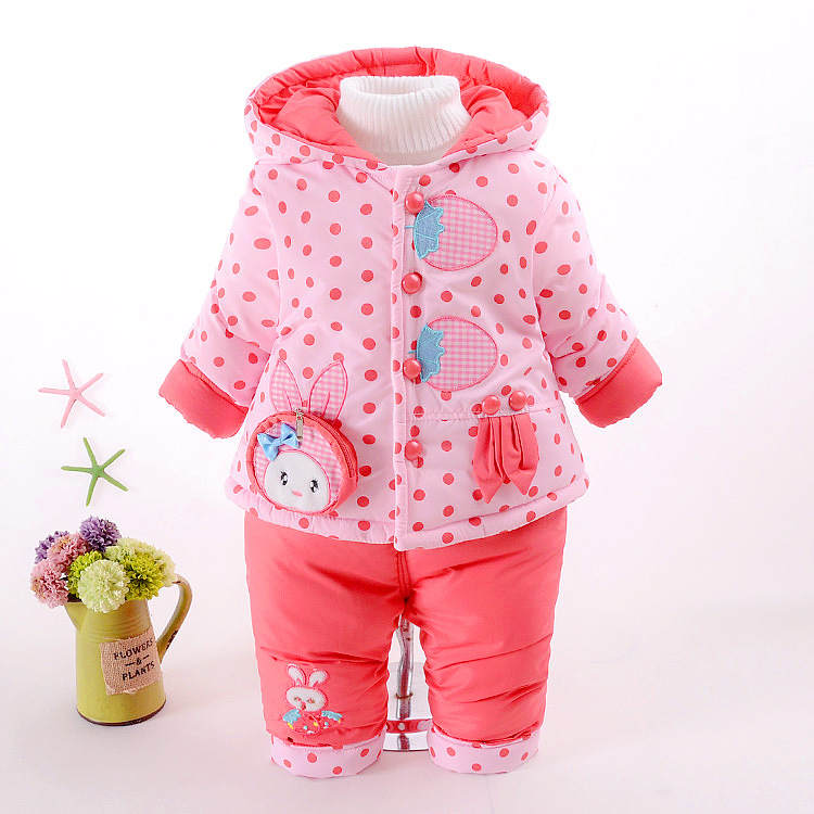 2018 Kid baby Girls winter snowsuit parkas clothing set winter coat cute Strawberry hooded thicken infant toddler clothes set