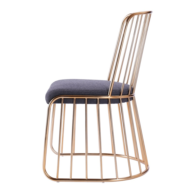 steel chair gold bedroom hanging egg metal wire side finish with backrest bar counter high stool low