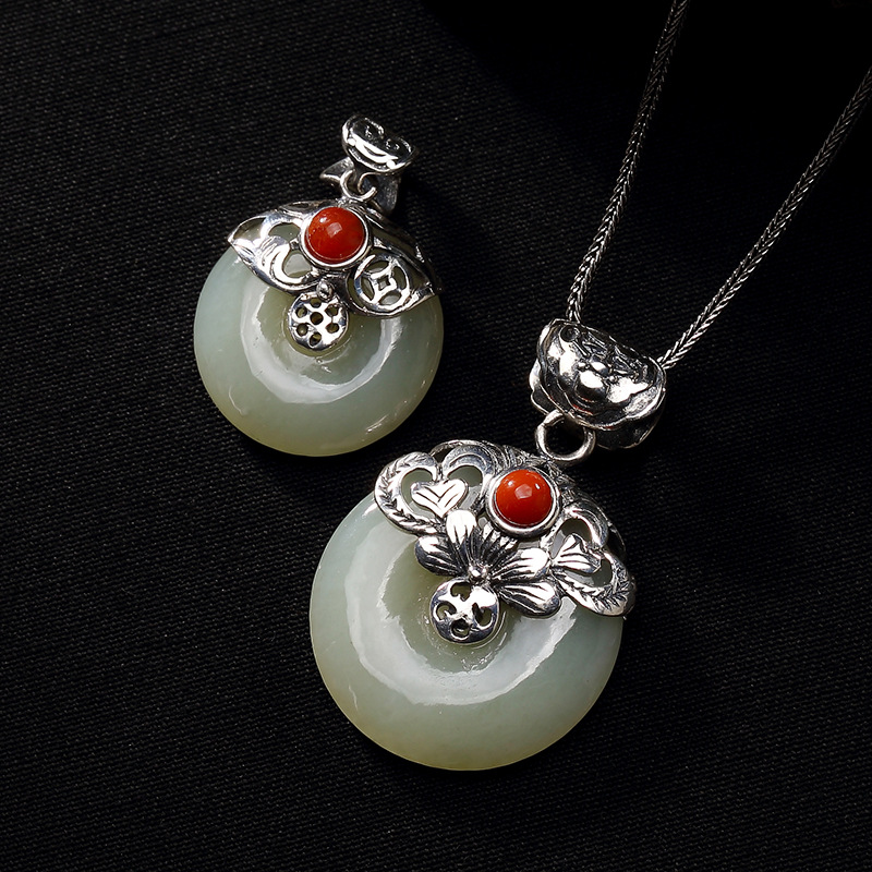 Real Silver 925 Lotus Flower Stone Pendant Jade Peace Buckle Amulet With Red Onyx Gemstone Natural Sterling Silver Bijoux FemmeReal Silver 925 Lotus Flower Stone Pendant Jade Peace Buckle Amulet With Red Onyx Gemstone Natural Sterling Silver Bijoux Femme