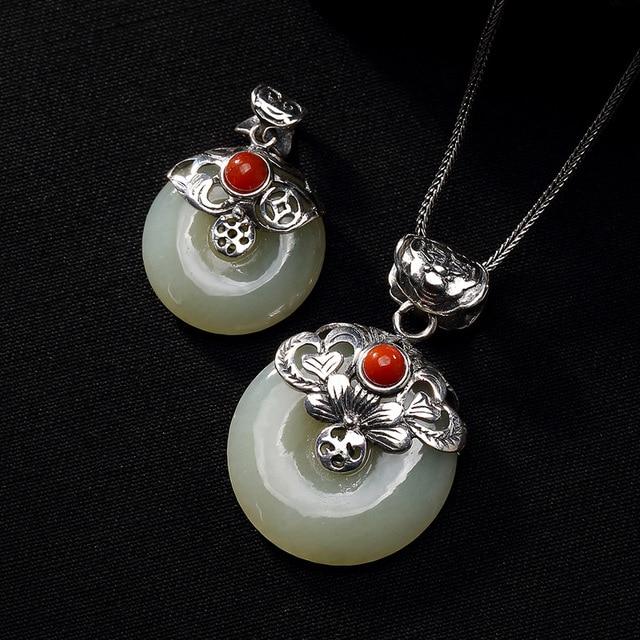 Real silver 925 lotus flower stone pendant jade peace buckle amulet real silver 925 lotus flower stone pendant jade peace buckle amulet with red onyx gemstone natural mightylinksfo