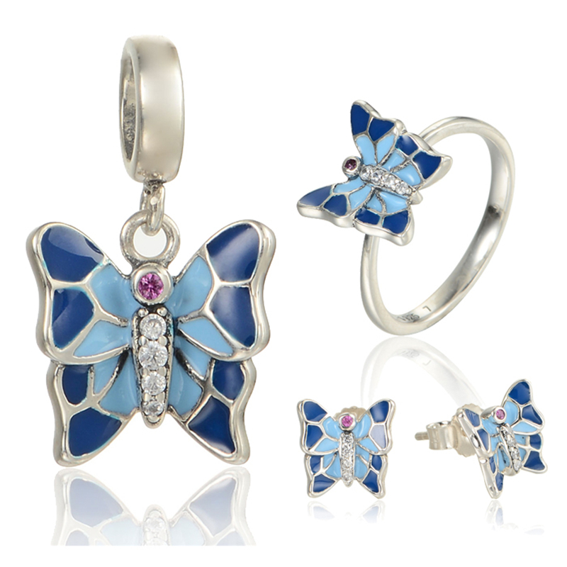 Enamel&Crystal Butterfly Jewelry Sets Sterling Silver GW Brand Jewelry for Women Earrings Pendant and Ring boncuk SET-011H15 брелок gw jewelry