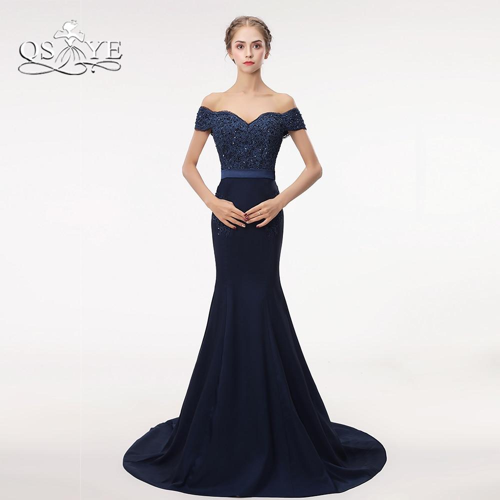 Navy Blue Mermaid Prom Dresses 2018