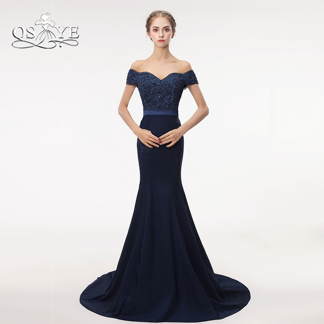 Aliexpress Buy Qsyye Navy Blue Long Mermaid Prom Dresses 2018