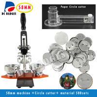 Free Shipping High Quality 2 1 4 58mm Badge Button Maker Machine Circle Cutter 500 Sets