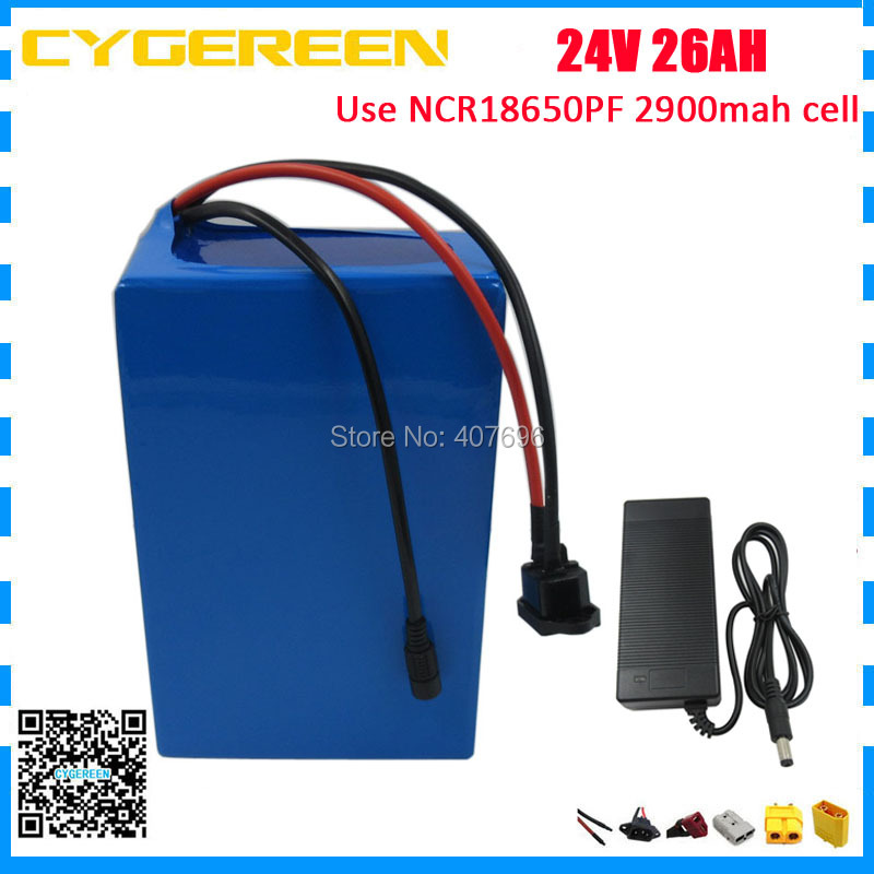 1000W 24V 26AH lithium battery 24V Electric bike battery use NCR18650PF 2900mah cell With 50A BMS 3A Charger1000W 24V 26AH lithium battery 24V Electric bike battery use NCR18650PF 2900mah cell With 50A BMS 3A Charger
