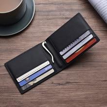 Billetera de cuero genuino RFID para hombre, cartera masculina de lujo con Clip para dinero, tarjetero de negocios, Vallet