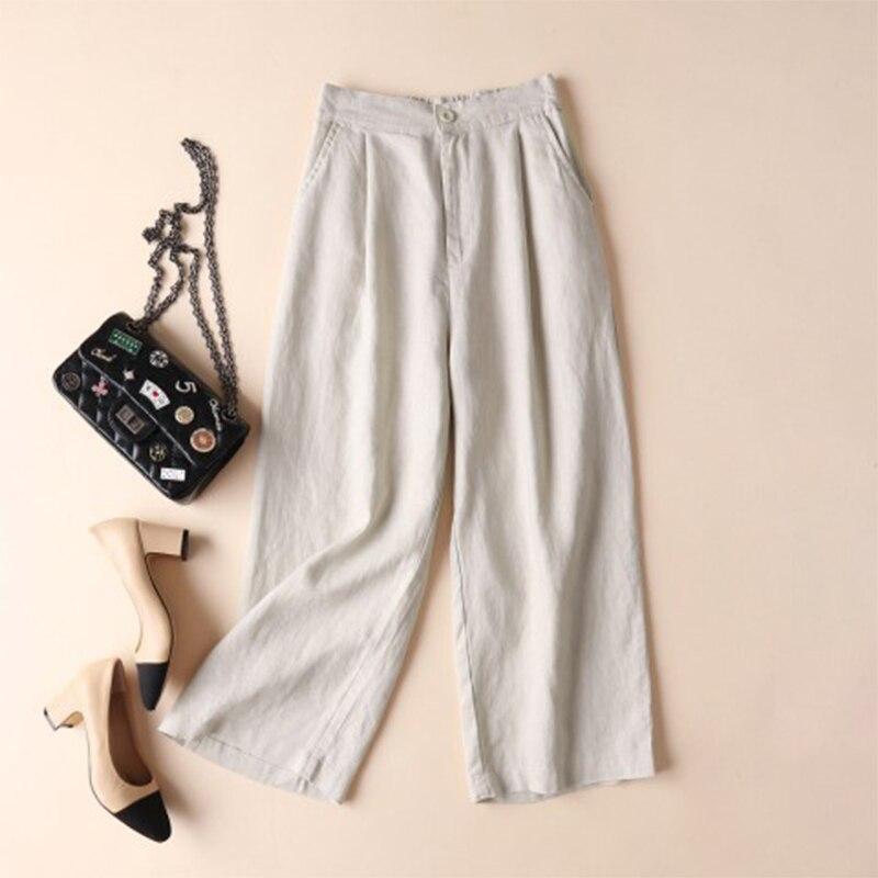 2018 Women Summer Autumn Elastic Waist Solid Wide Leg Pants Loose Cotton Linen Pantalon Casual Pockets Baggy Trousers Plus Size