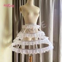 Hugne Short 3 Hoop Lolita Petticoat White/Black Crinoline Gothic Petticoat Underskirt for Woman