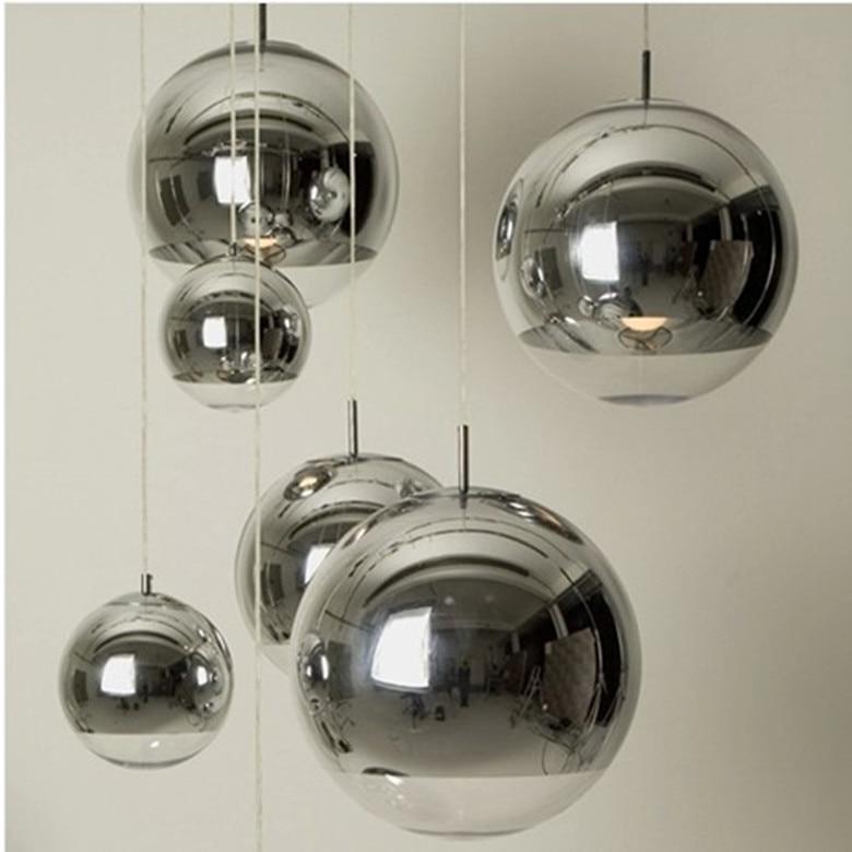 Modern Chrome Mirror Ball Pendant Lights Glass Bubble Ball Lamp Lighting For Dinning Room mirror silver chrome vespa open face