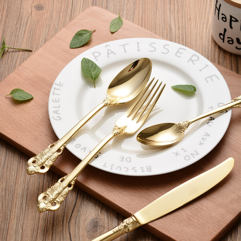 Stainless Steel Cutlery Gold Plated Flatware Set Golden Table Fork Spoon Knife Dessert Spoon Western Dinnerware & 4 8 16 24pcs Stainless Steel Cutlery Gold Plated Dinnerware Set ...