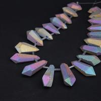 15 5 Strand Large Matte Rainbow Titanium Crystal Quartz Faceted Nugget Loose Beads Raw Gems Double