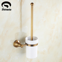 Antique Brass Classical Bathroom Toilet Brushed Holder Ceramic Cup Solid Brass Cup Holder Wall Mount