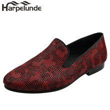 Harpelunde Slip On Leather Men Dress Shoes Snake Paisly Loafers