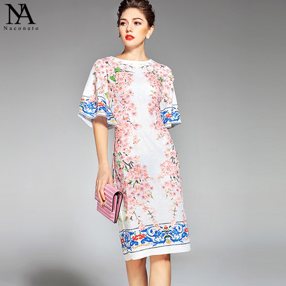 New Arrival Womens O Neck Half Flare Sleeves Appliques Flowers Printed Straight Elegant Runway Dresses