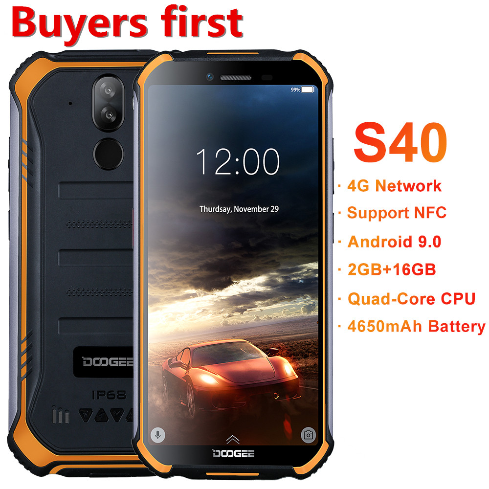 "2019 new DOOGEE S40 IP68 waterproof smartphone 5.5""FHD 4650mAh MT6739 Quad Core 2GB+16GB Android 9.0 8.0MP NFC 4G mobile phone"