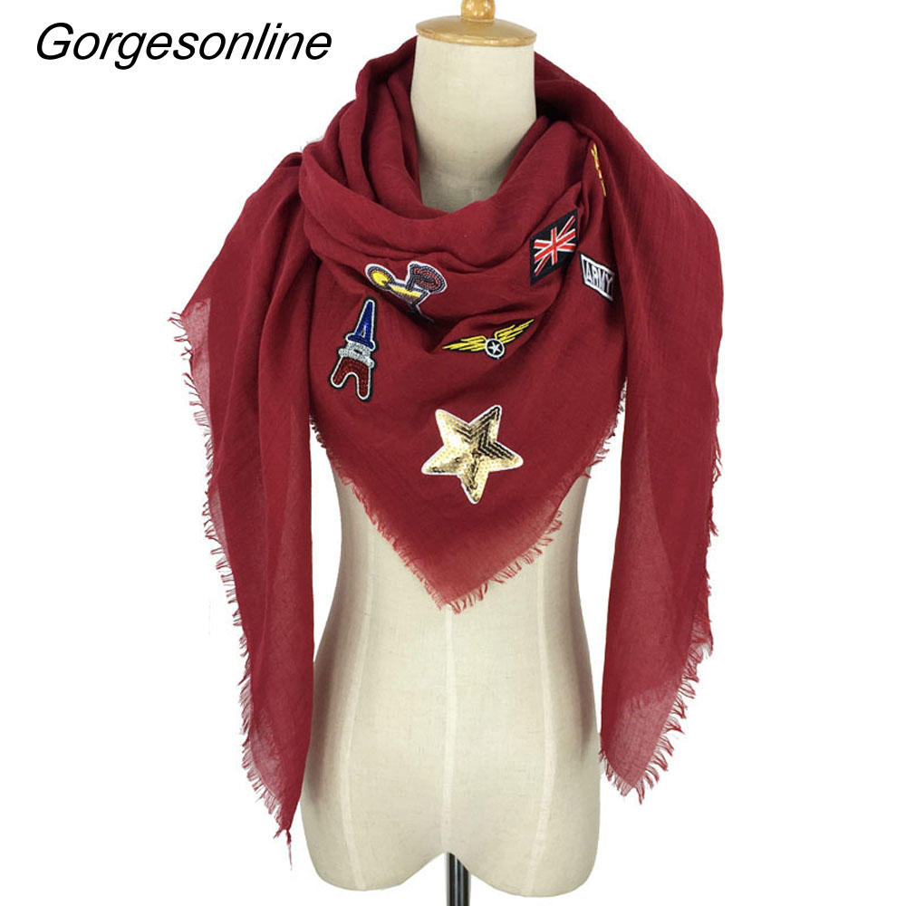Gorgesonline Square Cotton badged Star Scarf Girls Christmas Neck Warmer Wrap Pashmina Scarf Shawls
