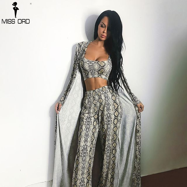 Missord 2018 Autumn and Winter Women Sexy  Cloak Three Pcs Set Snake Print Female Elegant Party Jumpsuit FT9704
