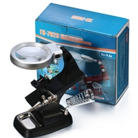 Multifunctional Soldering Welding 3X 4 5X Magnifier Stand Desktop Third Helping Hands With 10 Leds Alligator
