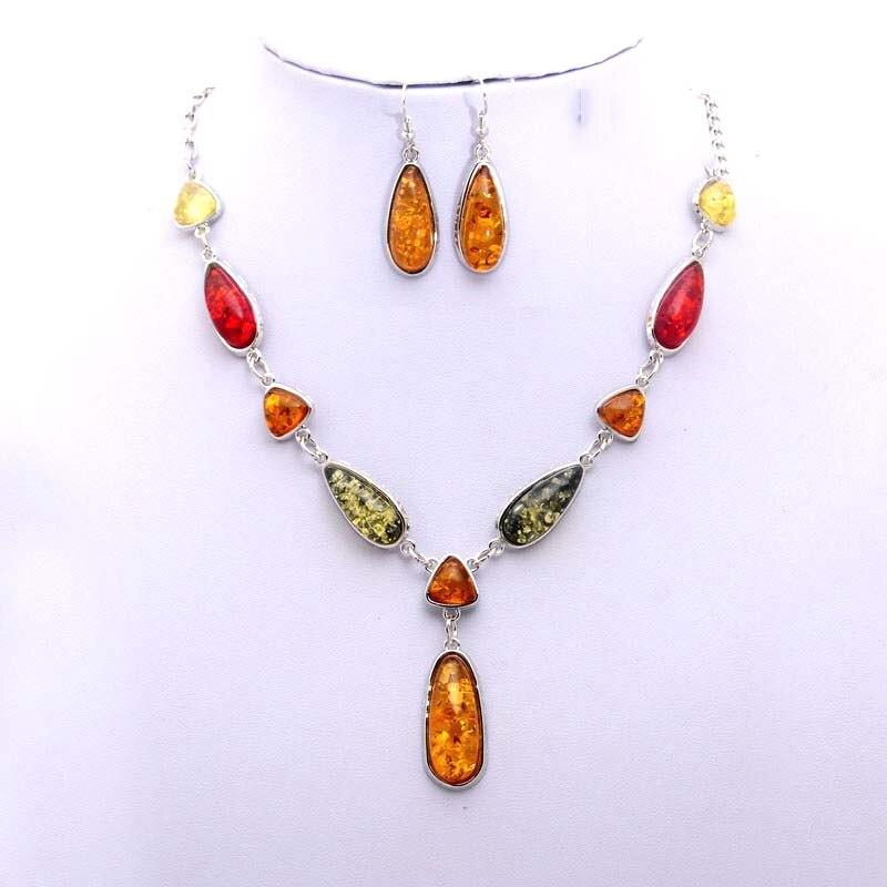Sada šperků postříbřených náhrdelníky z kamene nigerijských korálků pro ženy Krásný náhrdelník a náušnice