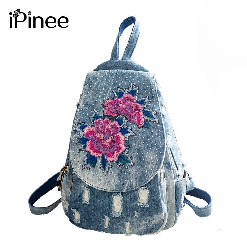 Ipinee Denim School Backpack For Girl Embroidery Flower Design Women Backpack Shoulder Bag Female Rucksack Bagpack Mochila