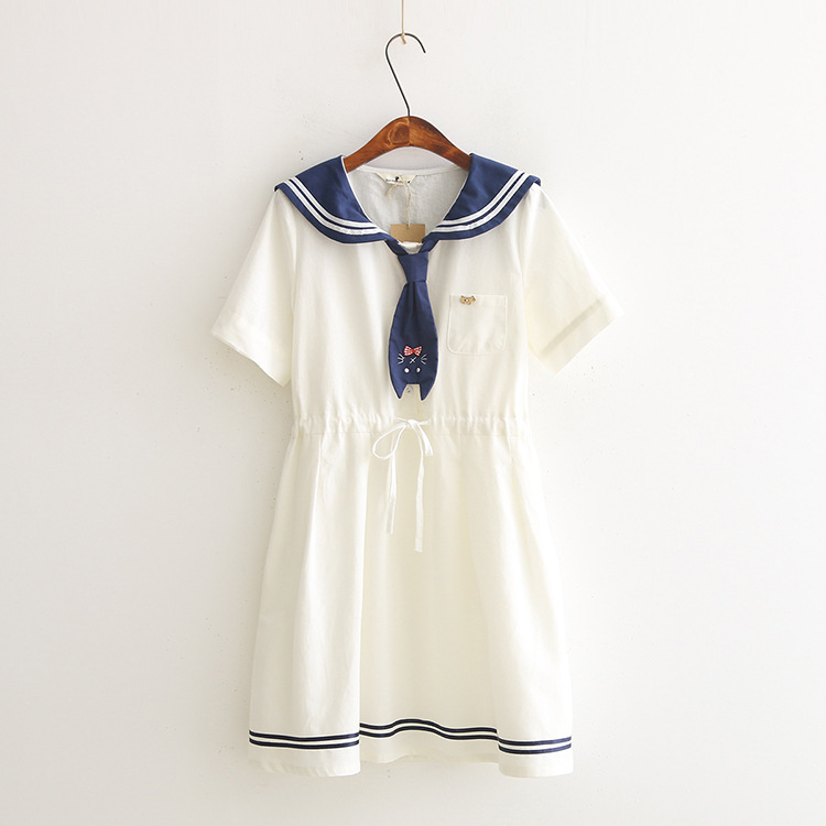 Japanese Girls Lovely Cat Embroidery Design Dresses Casual Youth Women Short Sleeve Sailor Collar With Scarf Cotton Dress