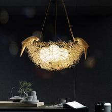 Créatif en aluminium fil nid d'oiseau pendentif lumières oiseau oeuf art nordique chambre pour enfants restaurant E27 pendentif led lampe