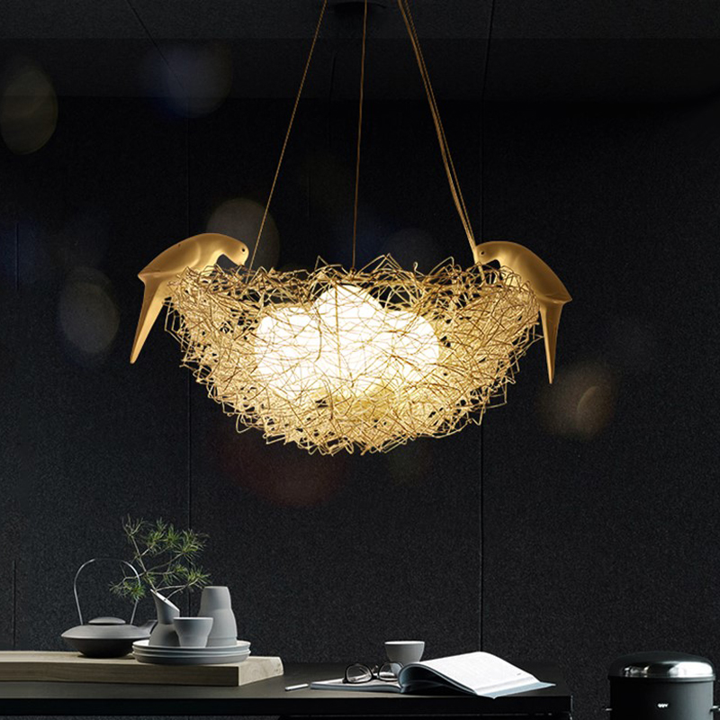 Creative Aluminum Wire Bird's Nest Pendant Lights Bird Egg Nordic Art Children's Room Restaurant G4 Led Pendant Lamp