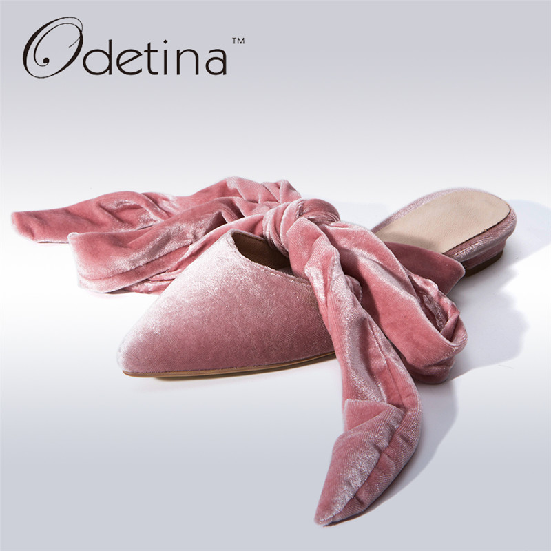 Odetina 2017 New Women Slingback Pumps Bow Low Heel Lace Up Ankle Strap Heels Half Slippers Ladies Mules Shoes Big Size 32-43 odetina 2017 new woman slingback flats hollow out slip on flat shoes flower half slippers mules d ete pour femme plus size 32 43