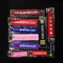 KISS ME BEFORE FLIGHT Key Chains Embroidery ribbon Textile Aviation gift Keychain women men FLIGHE CREW key Pendant(China)