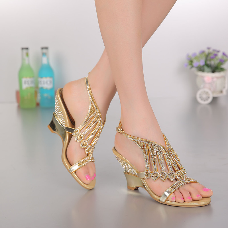 2016 Summer New Fashion Wedding Shoes Gold Color Wedges