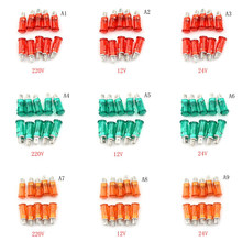 10pcs 220V 110V 12V/24VDC 10mm MDX-11A Pilot Guiding Signal Lamp Panel Mounting Neon Indicator Red Green Yellow Lights(China)
