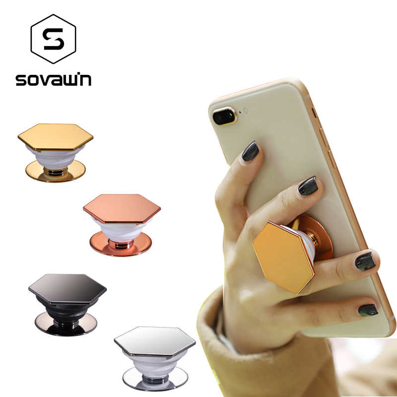 Sovawin Universal Mobile Phone Holder Stand Hexagonal Air Bag Bracket Mount Fashion Phone Holder Ring Portable for IPhone X XS