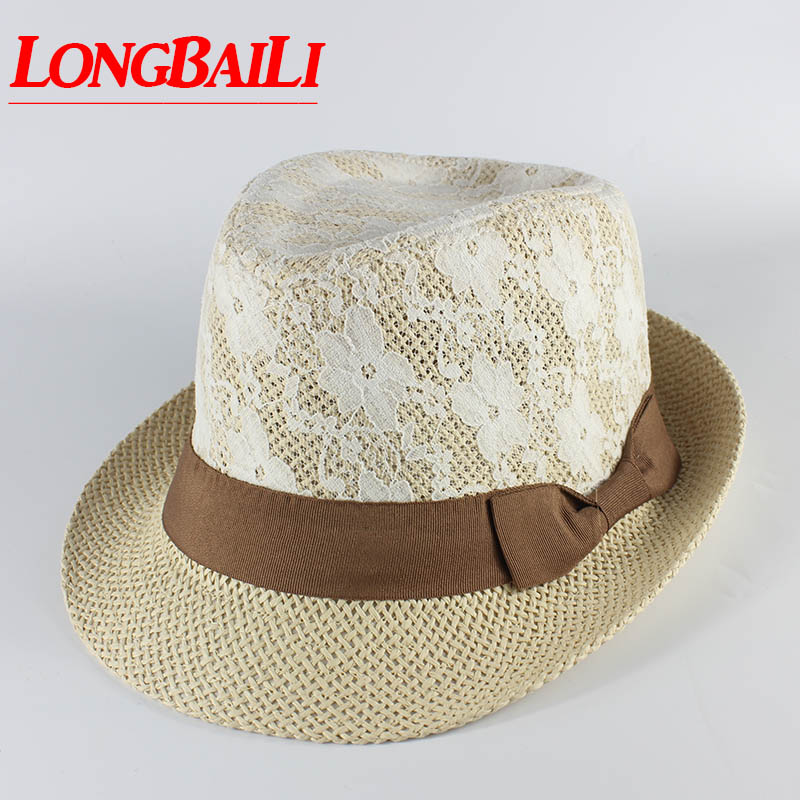 New Summer Floral Lace Covered Fedoras Straw Hats For Women Jazz Chapeu  Panama Beach Caps Brown Beige MEDS026 ee47085c47f