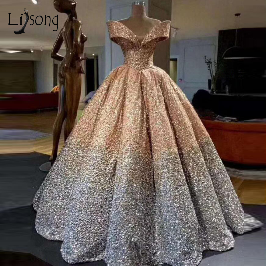 Lebanon Luxury Prom Gowns Shiny Mix Sequined Long Prom Dresses Empire Abiye Formal Dress Robe De Soiree 2018 Abendkleider