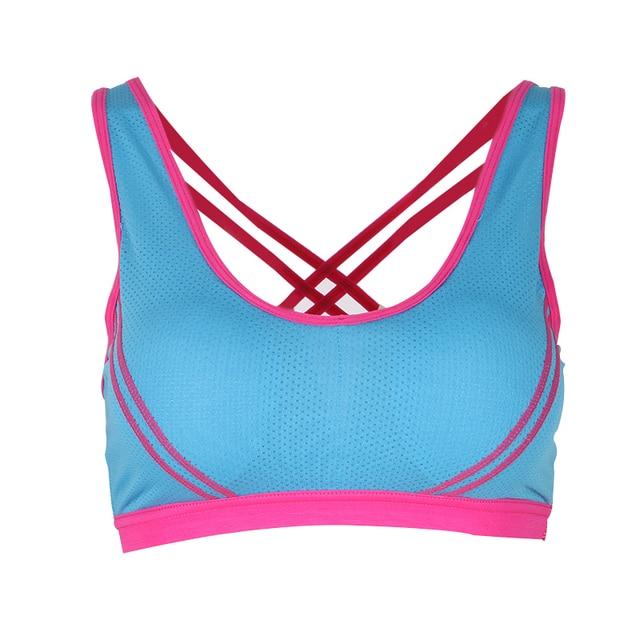 Women Sports Bra Seamless Cross Back Padded Tank Top Athletic Gym Fitness Stretch Workout