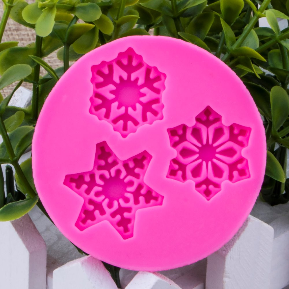 Christmas snowflake shape Fondant cake silicone mould Kitchen for pastry candy Gum paste Chocolate Trim molding removal tool 927
