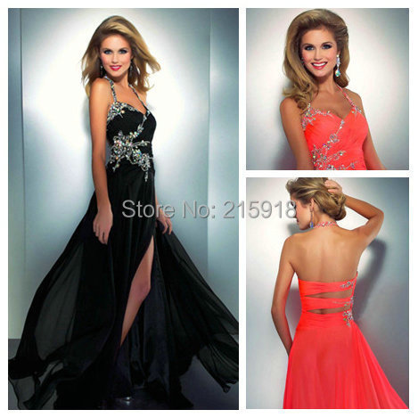 Neon Crystal Prom Dress