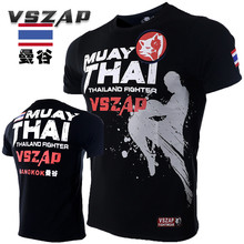 VSZAP Muay Thai Fitness T-Shirt Men Short Sleeve MMA Sporting Workout Fight UFC Fighting Clothes Plus Size S-4XL