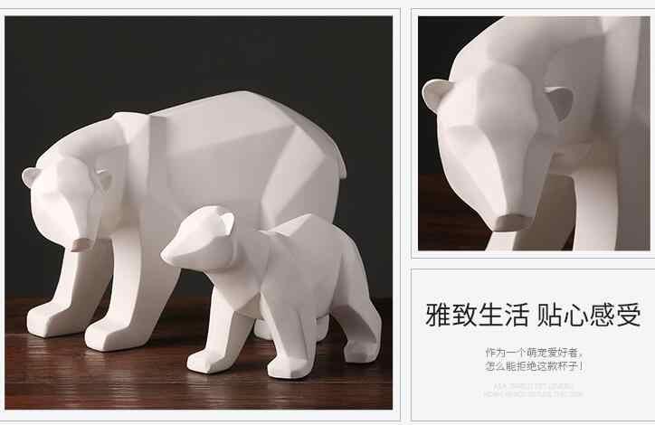 Simple สีขาวบทคัดย่อเรขาคณิตหมีขั้วโลกประติมากรรมเครื่องประดับ modern home ตกแต่งของขวัญหัตถกรรมเครื่องประดับรูปปั้น